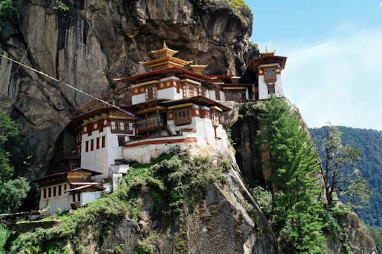 Photo of ornate architecture inside a Bhutan temple