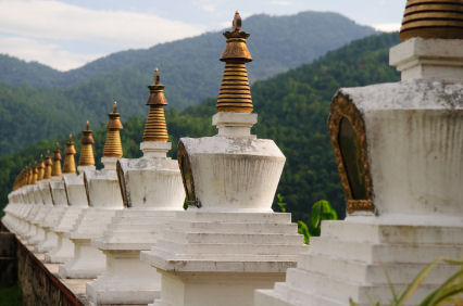 Bhutan row of chortens stupas