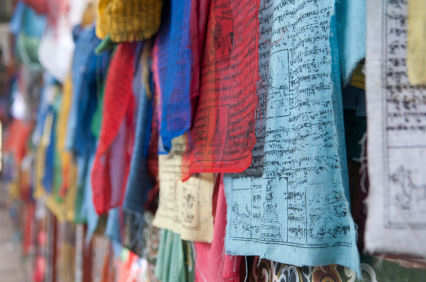 Bhutan colorful prayer flags